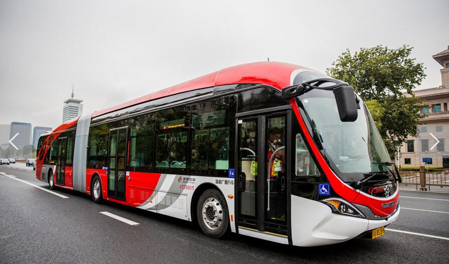 10 electric 'Chinese red' buses hit the roads in central Beijing