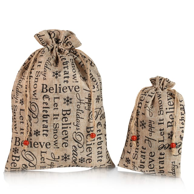 Wholesale small screen printed burlap jute custom gift packaging bag