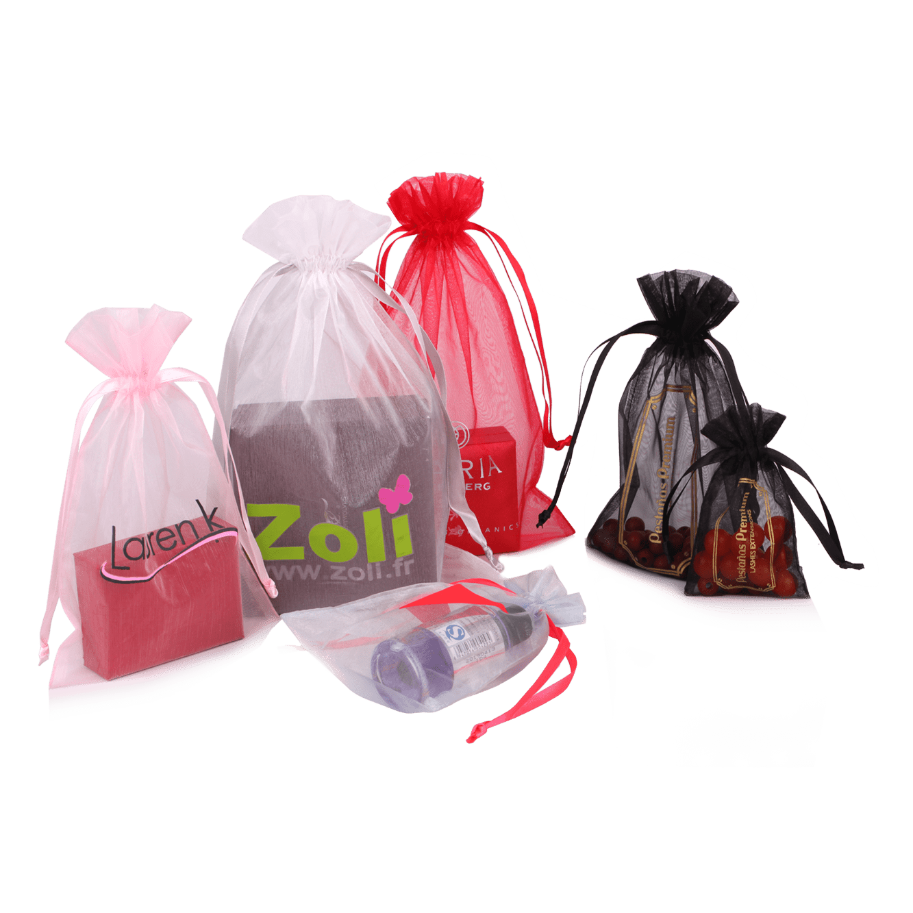 Wholesale high quality custom colorful flower organza bags