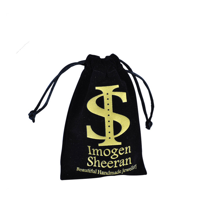 Black velvet gift bag supplier custom jewelry pouch